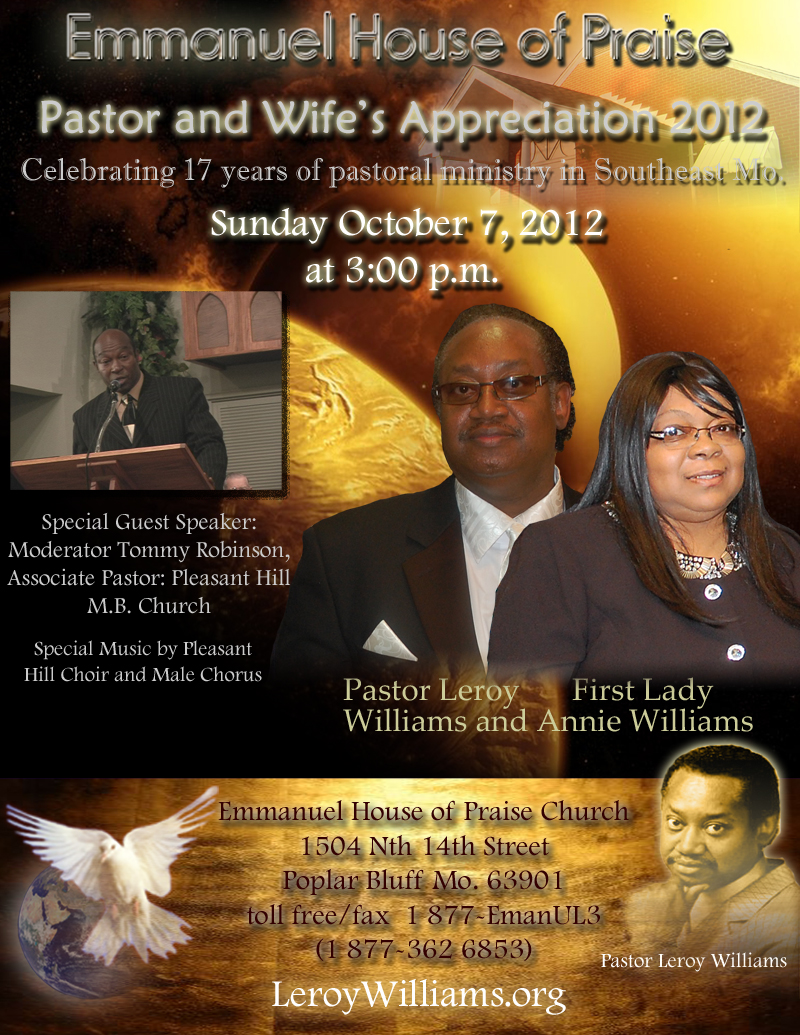 Pastor Anniversary Flyer Leroy Williams Org The Official Website Of And