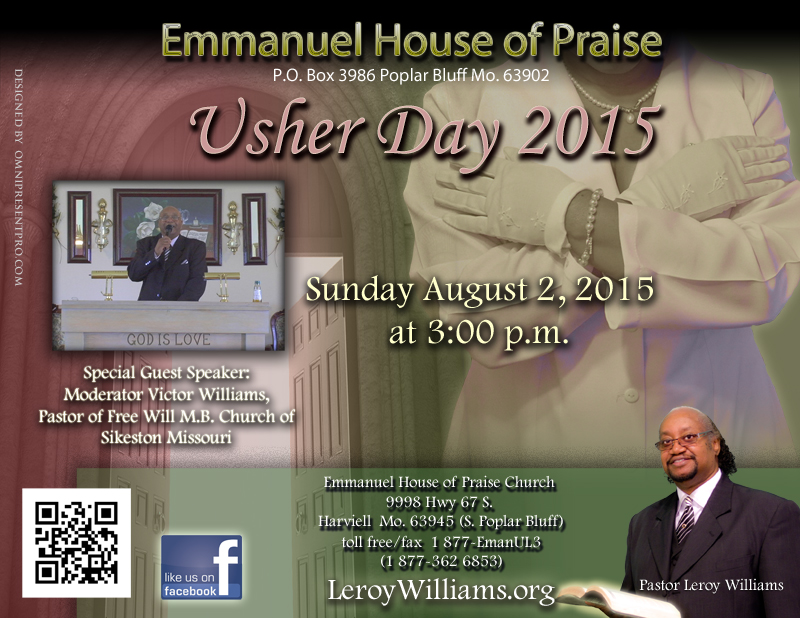 Leroy williams the official website of pastor leroy williams and promo flyer for usher day 2015 guest speaker moderator victor williams pastor of free stopboris Choice Image