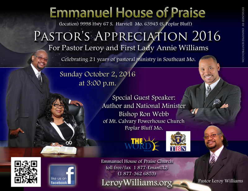 leroy williams org the official website of pastor leroy