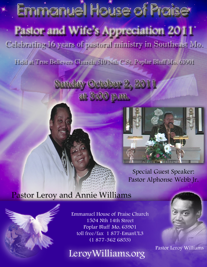 Leroy Williams.org the official website of Pastor Leroy ...